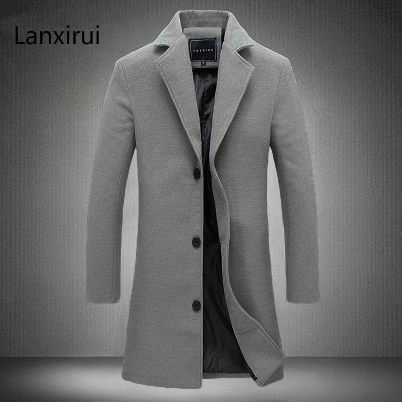 Homens de Longo Cor Windbreaker 2018 High-End Moda Casaco de Lã Homem de Negócios Casuais Casaco de Puro Algodão Fino Casaco