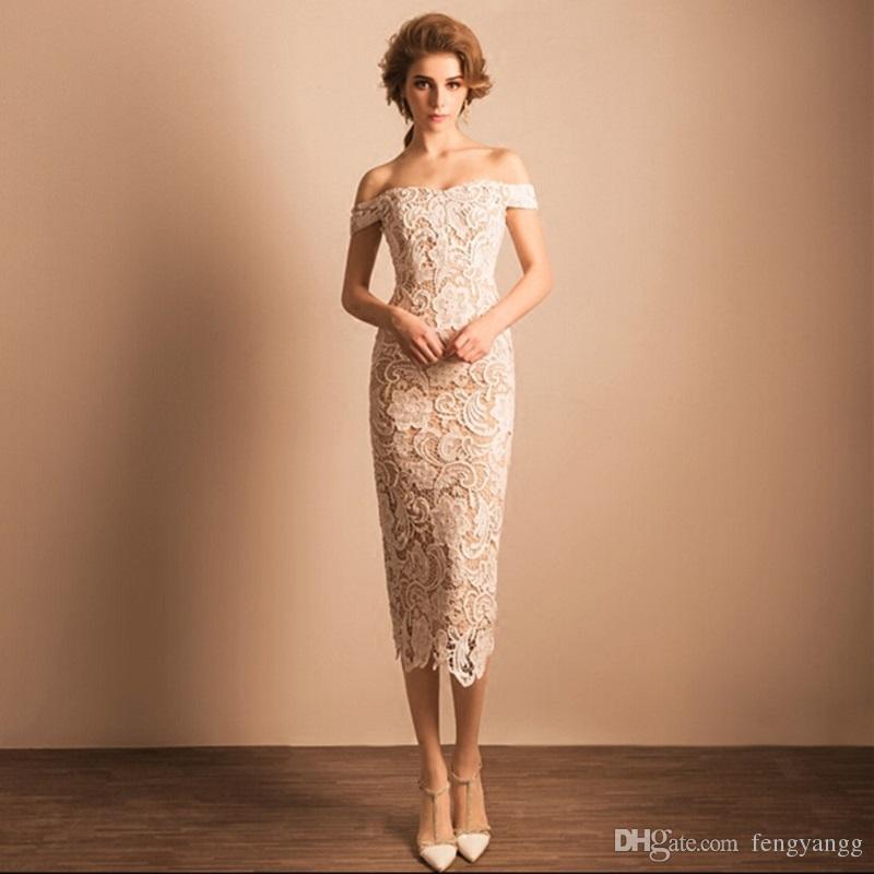 Compre 2018 Elegantes Vestidos De Fiesta Blancos De Encaje Mujer Sexy Fuera Del Hombro Con Vestidos De Cóctel Beige A 7086 Del Fengyangg