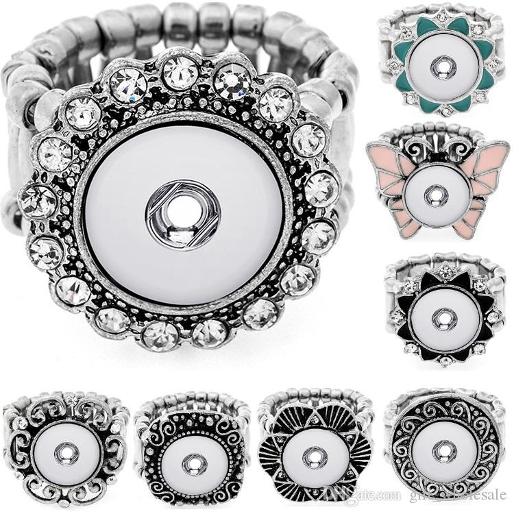 8 Styles New Snap Ring for 12MM Snap Jewelry Crystal Silver Women Button Rings party ring Snap Jewelry