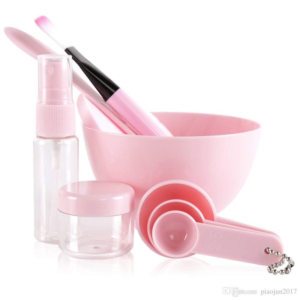 Набор для смешивания масок для лица, Наборы инструментов для смешивания масок для ухода за лицом Lady, Коврик для щетки для чистки палочек 9 в 1 наборе Розовый