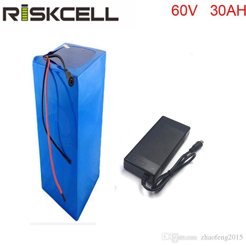 60V 30AH elektrische Fahrradbatterie 3000W BMS Lithiumbatterieleistung PVC-Koffer, mit BMS und Ladegerät