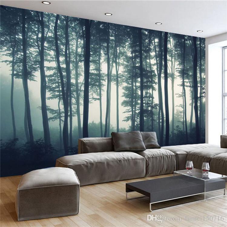 Papier peint photo personnalisé 3D dense brouillard forêt arbre mural peinture salon TV canapé chambre peinture murale nature paysage papier peint