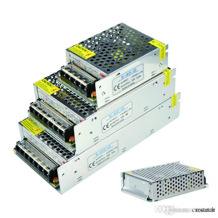 El interruptor de aluminio del transformador 12V DC del cuerpo llevó la fuente de alimentación 12W 25W 40W 60W 120W 180W 240W 360W 480W 600W AC110V / 220V llevó el conductor