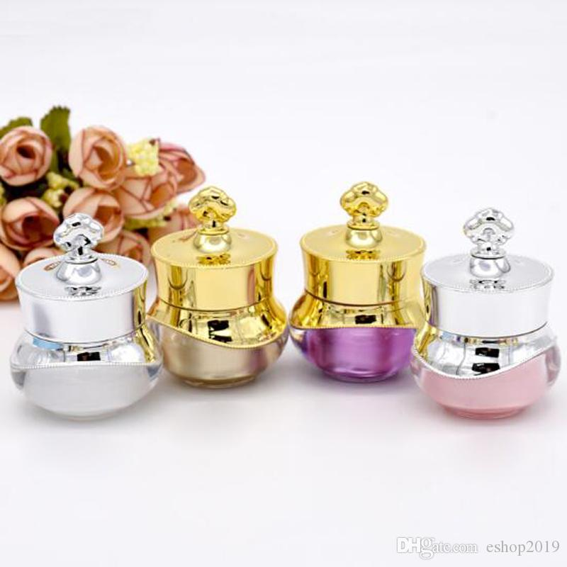 5g Empty Cosmetic Pack Eye Cream jar Travel Cream jar Crystal Acrylic Cream bottle with UV Crown Cap Refillable Bottle