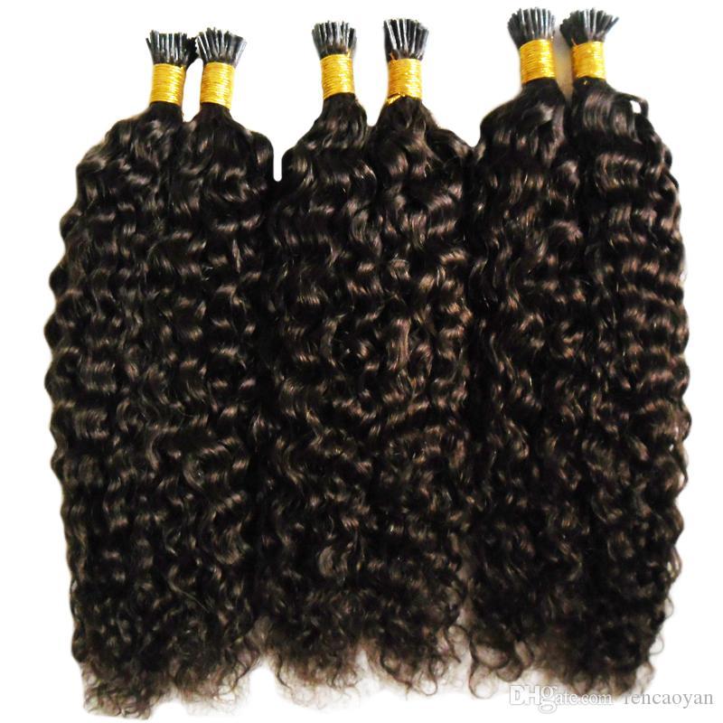 Mongolian afro Kinky Curly Hair Queratina Vara Ponta Do Cabelo Extensões 300g Pre Ligado Eu Ponta Da Extensão Do Cabelo Cápsulas Fusão Humana