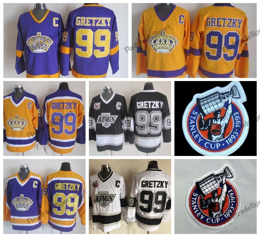 Vintage 1993 Stanley Cup 100th Los Angeles Kings Way Gretzky Hockey Jerseys LA KINGS 99 Wayne Gretzky Hitched Hockey Shirts C Patc