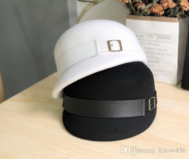 Lujoso luz paño de lana del sombrero francés ecuestre: Británica sencilla gorro de lana de Australia, otoño e invierno sombrero de caballero de moda