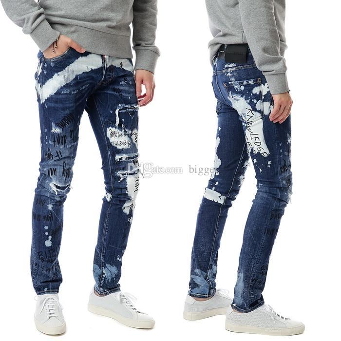 Men Distressed Graffiti Tidy Biker Jeans Button Fly Print Ripped Skinny Fit Painted Printed Denim Pants