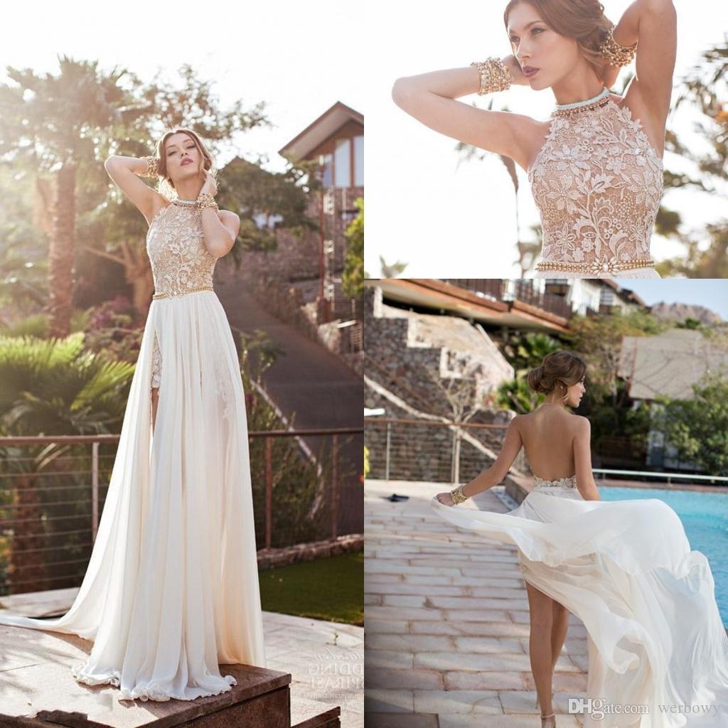 Julie Vino Strand 2020 Abendkleid Halter-Spitze-Perlen-Chiffon- hohe Split Backless griechische Boho Spitze Ballkleid Cocktailparty-Kleid-Zug HY0528