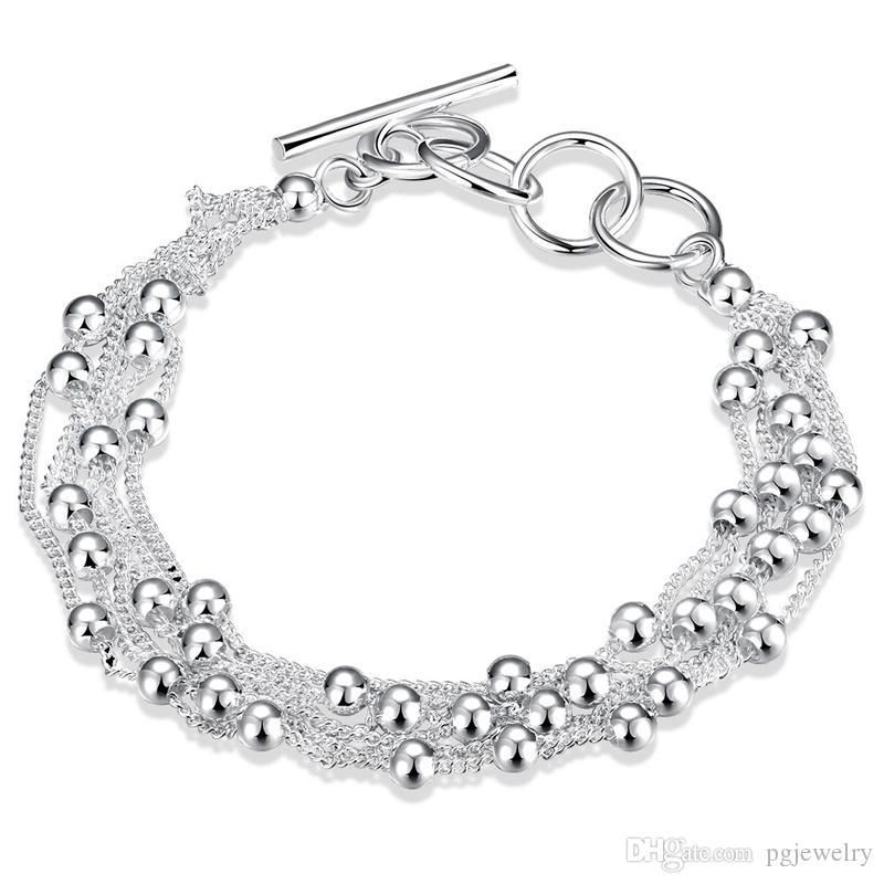Hot sale 925 sterling silver Cadeia de Ligação Frisado Strands Charm Bracelets moda jóias fazendo para mulheres e homens presente frete grátis LKNSPCH101