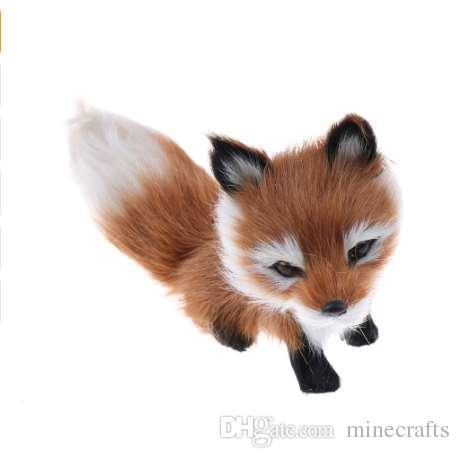 1 Adet 12 * 6 * 8.5cm Küçük Simülasyon Fox Oyuncak Mini çömelerek Fox Modeli Ev Dekorasyon Düğün Doğum Hediye Peluş Oyuncaklar