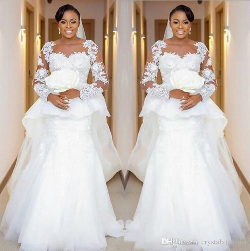 2020 Cheap African Plus Size Mermaid Wedding Dresses Jewel Neck Lace Appliques Beads Long Sleeves Peplum Sweep Train Dubai Bridal Gowns Ball Gown Casual Wedding Dresses From Crystalxubridal 143 92 Dhgate Com,New York City Hall Wedding Dresses