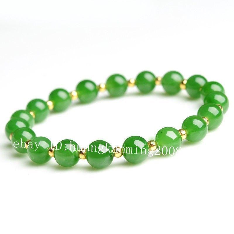 Piuttosto 8mm verde naturale giada giadeite tondo borda il braccialetto del braccialetto 7.5 ''