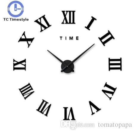 3d Gran Reloj de Pared Números Romanos Espejo Etiqueta de La Pared Diy Sala de estar Decoración Para El Hogar Relojes de Moda Llegada de la Pared de Cuarzo