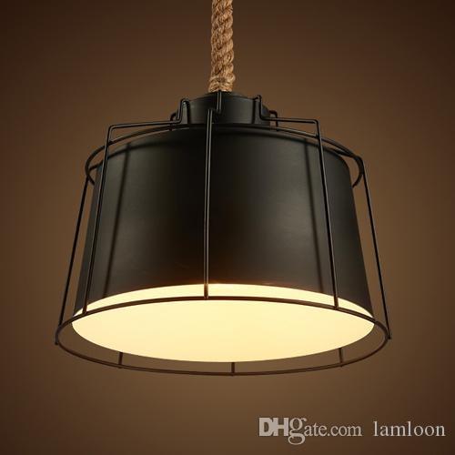 Retro Loft viento industrial led lámparas colgantes lámparas para restaurante bar cafe club hotel tiendas de tela creativa cáñamo cuerda colgante luces