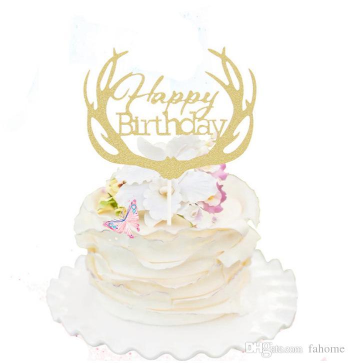 """4 Renkler Boynuz """"Mutlu Doğum Günü"""" Mektup Kek Topper-Doğum Günü Pastası Partisi Dekorasyon-Çocuk Kek Toppers Parti Malzemeleri"""