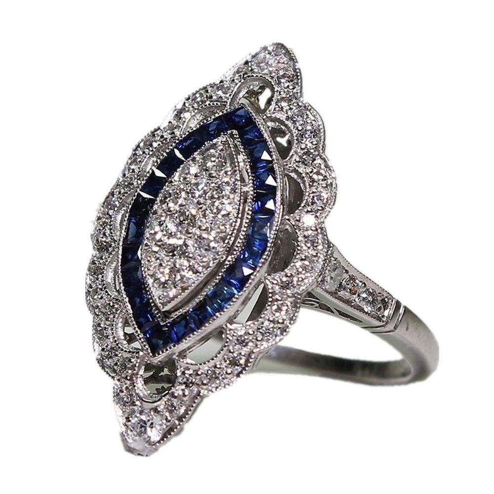 Уникальный Серебряный Винтаж кольцо белый синий сапфир Алмаз день рождения обручальное коктейль обручальное кольцо кольца размер 6-10 AB * 3988