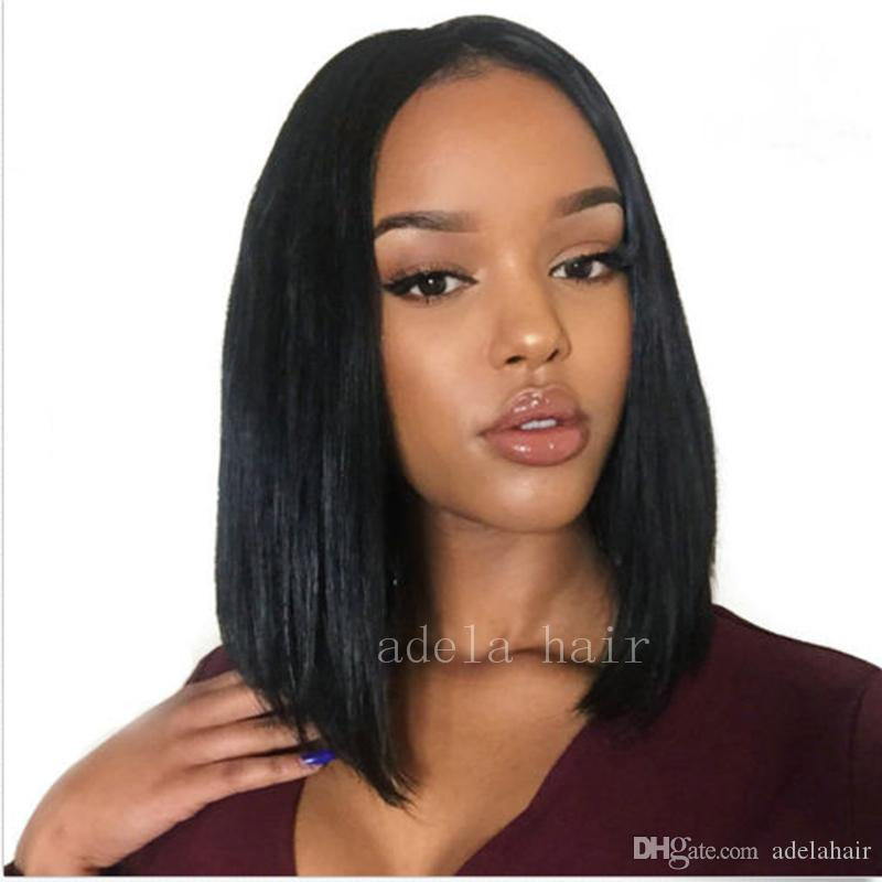 İnsan Saç Peruk Bebek Saç Perulu Bakire Bob Makinesi yapılan Dantel Ön Peruk Siyah Siyah Kadınlar Için Tam İnsan saç Yok Dantel Peruk