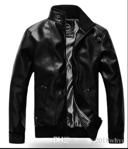 Spring new Men's Slim Autumn Winter Motorcycle Short Coat Overcoat Stylish Leather Jacket