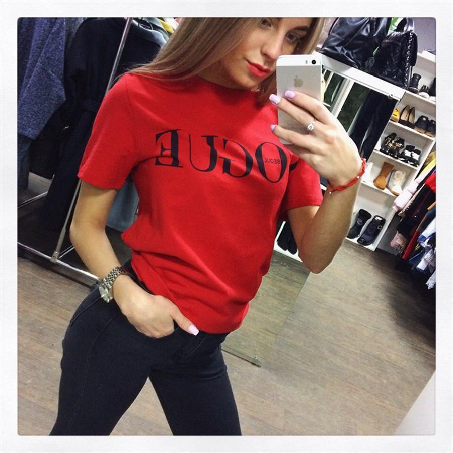 2020 صيف جديد بلايز الملابس أزياء نسائية VOGUE رسالة مطبوعة المتناثرة T قميص أحمر أسود أنثى التي شيرت Camisas تيز السيدات التي شيرت