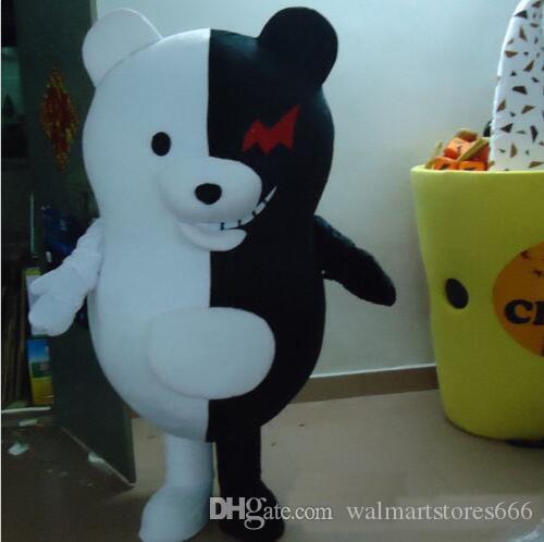 2018 Sıcak satış Komik Siyah Ve Beyaz Ayı Maskot Kostüm Fantezi Elbise Sıcak Satış Parti kostüm Ücretsiz Gemi
