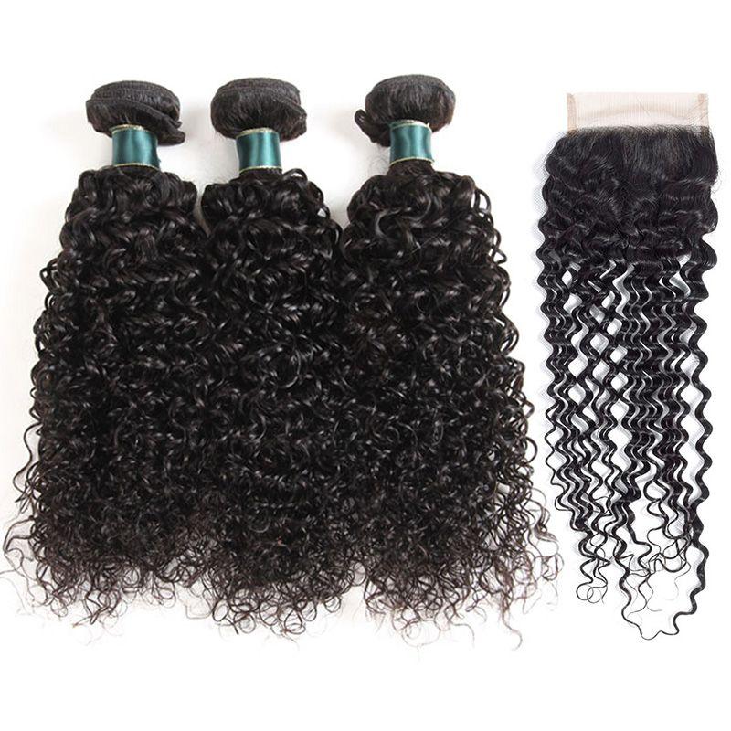 Kinky Кудрявые человеческие пакеты волос с закрытием Лучшее качество Бразильская перуанская девственница REMY Foot Weave 3 пакета с 4 * 4 кружевной удлинением закрытия