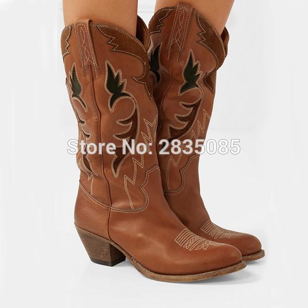 Der Zehe Großhandel Braun Cowboystiefel Qianruiti Schuhe Wies Damen Gladiator Stiefel Western Stickerei Wade Blockabsatz Mitte Frauen Botas Leder Von xrdQeCBoW