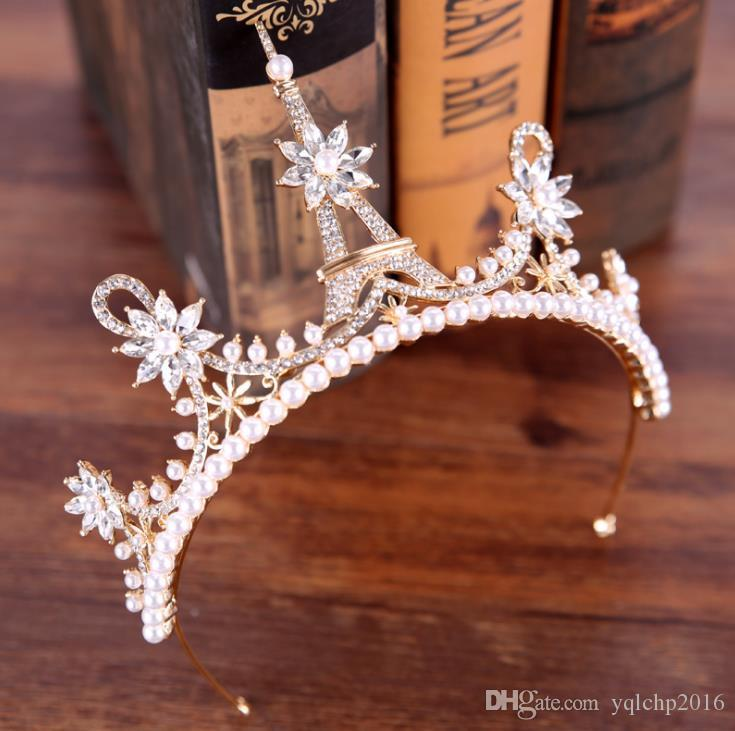 Gold and silver pearl pagoda crown crown princess lovely crown ornaments
