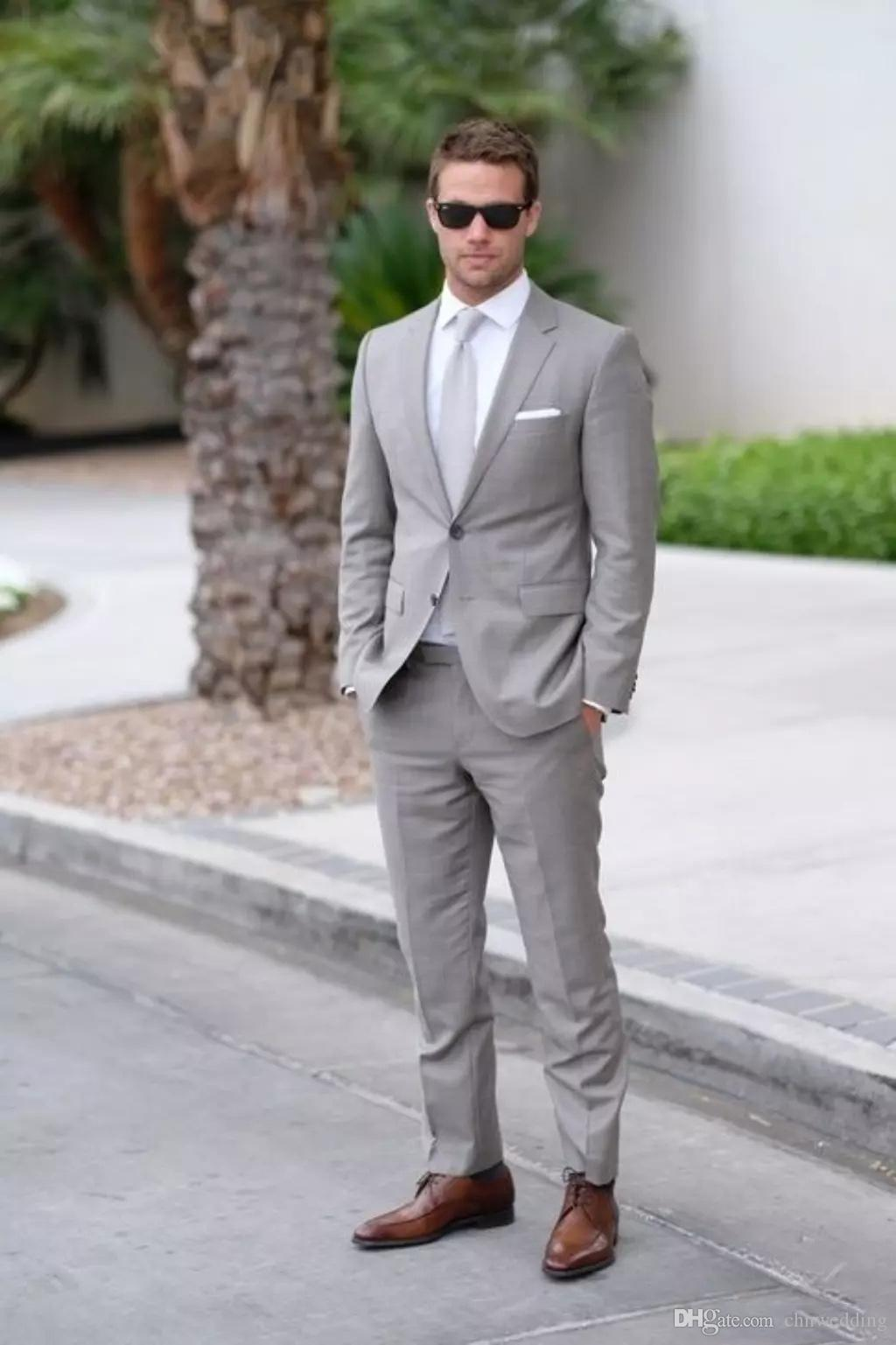 Men Light Gray Fomal Slim Fit Tuxedo Suit Wedding Suit Dinner Business Custom