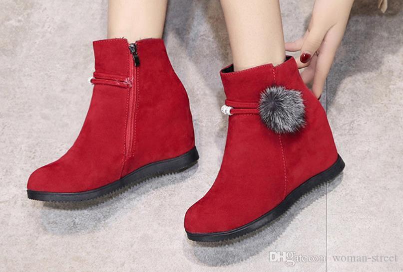 Корейская версия осень зима женщина бархатные короткие сапоги высота увеличения женские сапоги женские теплые хлопчатобумажные туфли леди снег сапоги