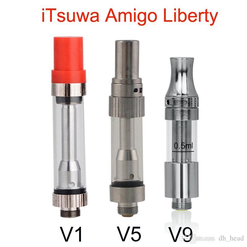 Itsuwa originale cartouche AMIGO Liberté V1 V5 V9 Co2 Vaporizer .5ml 1 ml en verre Pyrex Réservoir huile épaisse Atomiseur pour 510 batterie stylo vape