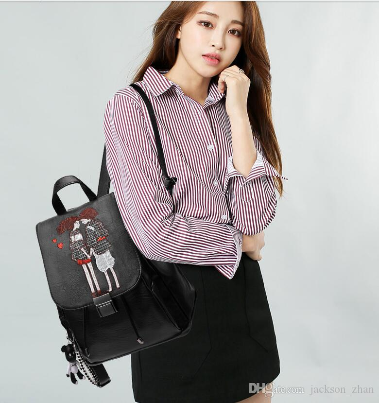 Wholesale-HOT!!!! Women backpack Special Offer PU Leather bags rivets backpack schoolbag free shipping