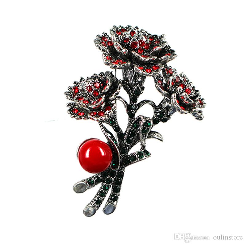 Christmas Brooches Rhinestone Flowers Brooch Pins Corsage Xmas Santa Christmas Party Gifts For Women Fashion Jewelry