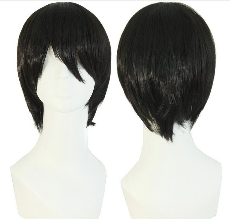 """Männer kurze Perücke 10 """"schwarz glattes Haar hitzebeständige männliche synthetische Perücken hohe Temperatur Faser falsche Haarteil"""