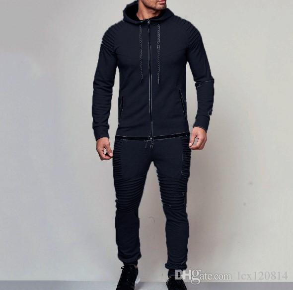 2018 новый мужской открытый спорт и досуг свитер сплошной цвет свободный кардиган рубашка упругие брюки костюм