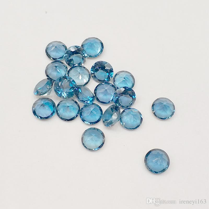 London Blue Topaz Eye Clear Good Brilliant Cut Sizes 2mm-5mm Round 100% Natural Loose Gemstones For Jewelry Making 20pcs/lot