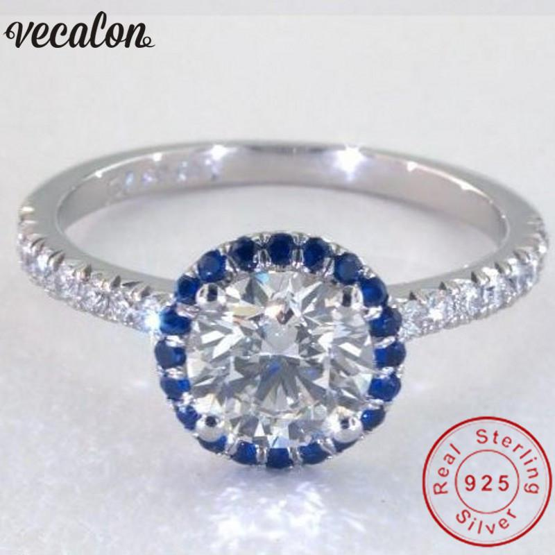X Vecalon Handmade 100% Soild 925 Sterling Silver ring Blue Birthstone 5A Zircon Cz Engagement wedding Band rings for women men