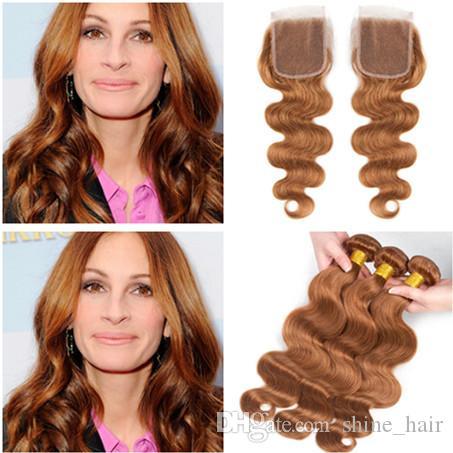 Vierge brésilienne moyenne Auburn Tissage de Cheveux Humains avec Fermeture 4Pcs Lot Vague de Corps # 30 Fermeture de Lacet Brun Clair 4x4 avec 3 Bundles Deals