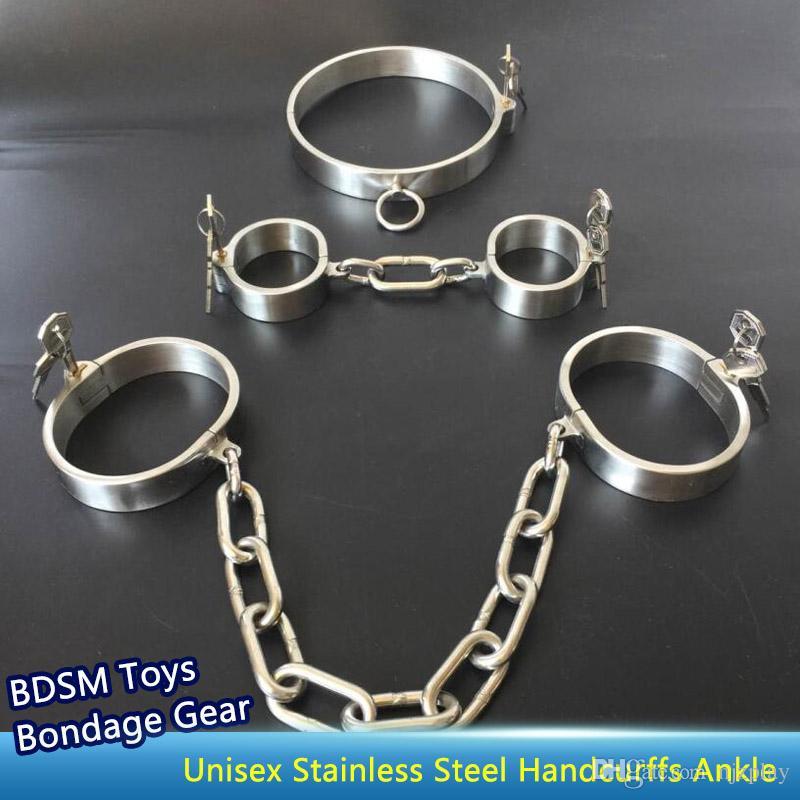 남녀 겸용 스테인레스 스틸 손수건 발목 손목 관절 칼라 본디지 기어 BDSM 장난감 및 섹스 토이 무료 배송