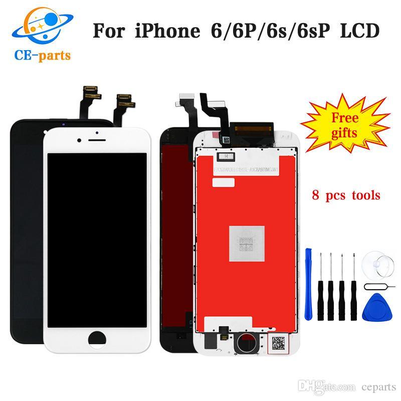 جودة عالية LCD لفون 6 6 زائد 6S 6S بالإضافة إلى شاشة LCD تعمل باللمس محول الأرقام الشاشة كاملة مع استبدال الإطار التجميع الكامل
