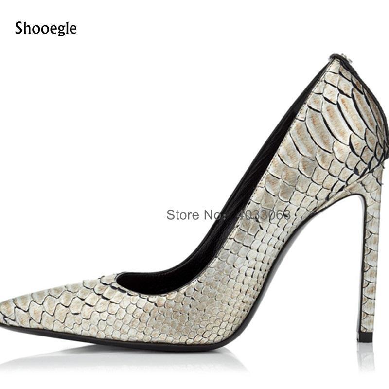 vente en gros 2018 nouvelle mode piste femmes pompes modèle de peau de serpent glisser sur les hauts talons argent bureau dame OL chaussures femme