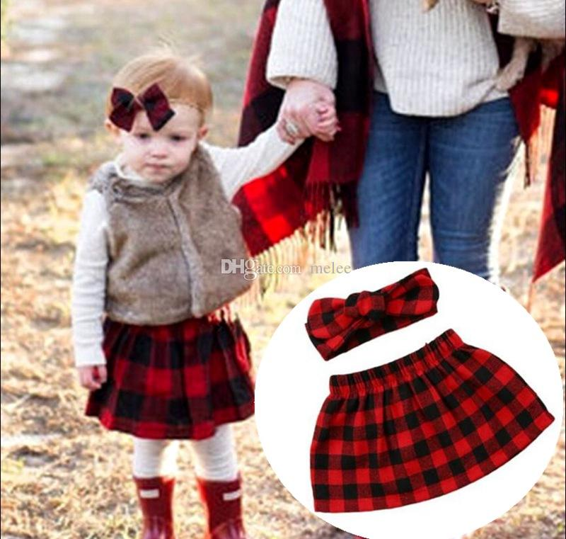 Ropa de navidad para niños pequeños ropa para niñas de moda para niños niñas diademas + niñas negro y rojo faldas a cuadros de algodón infantil 2pcs conjuntos
