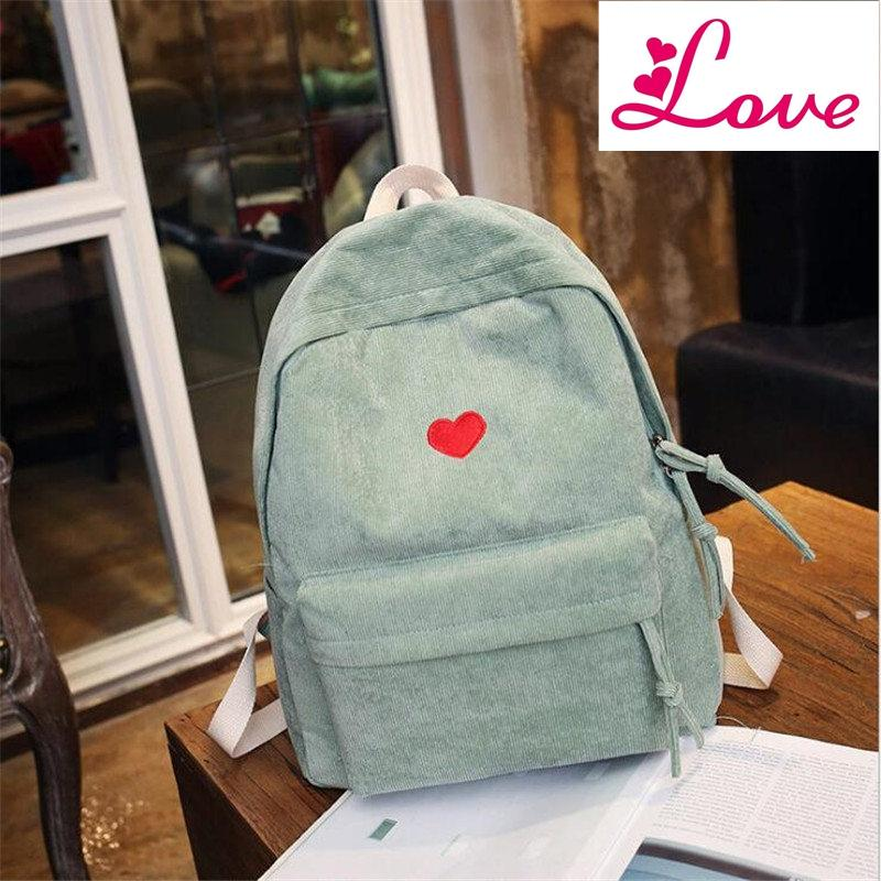 Lucia's new women corduroy backpack casual embroidery lovely heart school bags for girl drop shipping MN872