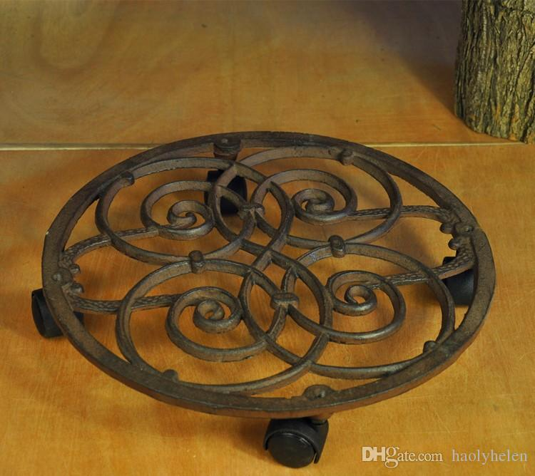 Wrought Iron Flower Pots Holder Tray Round Vintage Movable Flowerpot Rack Garden Balcony Floor Plant Stands Shelf Patio Lawn Home Decoration