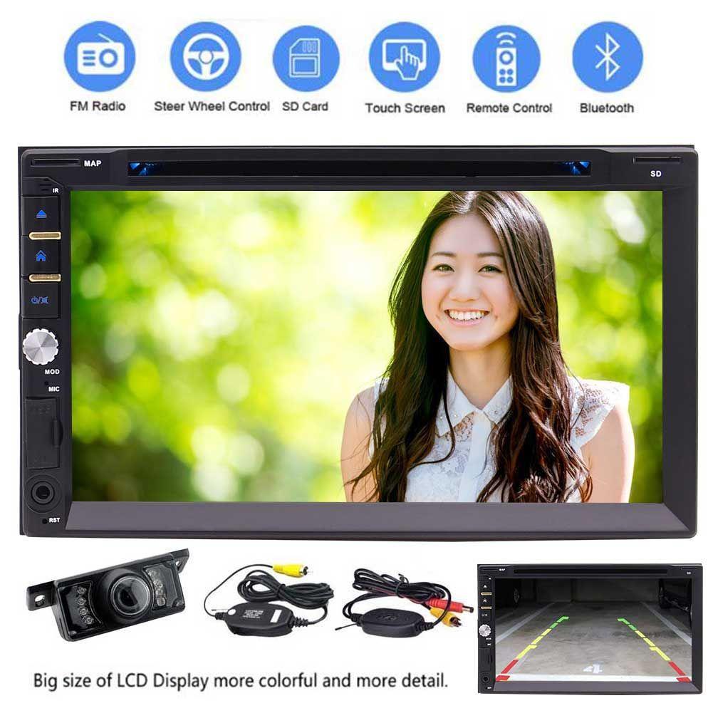 무료 무선 카메라 + 6.2 인치 더블 Din에서 대시 터치 스크린 자동차 스테레오 수신기 블루투스 HD 1080P 자동차 DVD 플레이어 AM / FM 라디오 마이크