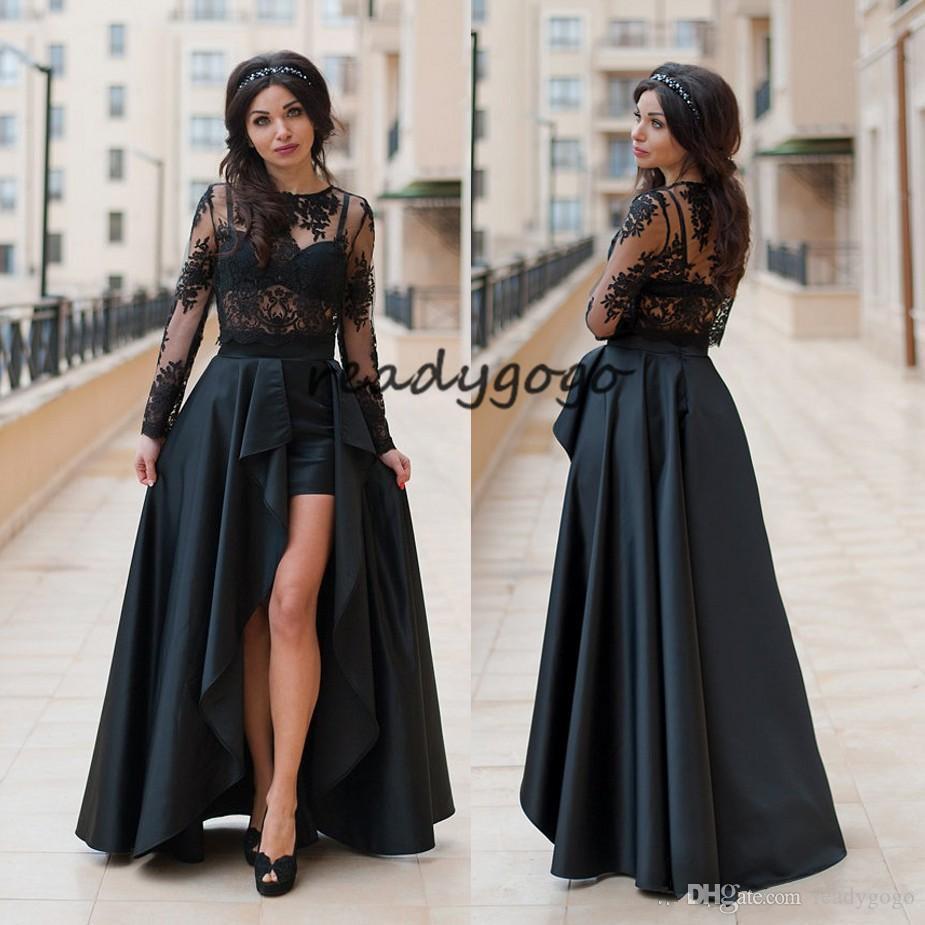 Stylish Two Pieces Prom Dresses Sheer Jewel Neck Side Split Evening Gowns Lace Vestidos De Fiesta Floor Length Long Sleeves Formal Dress