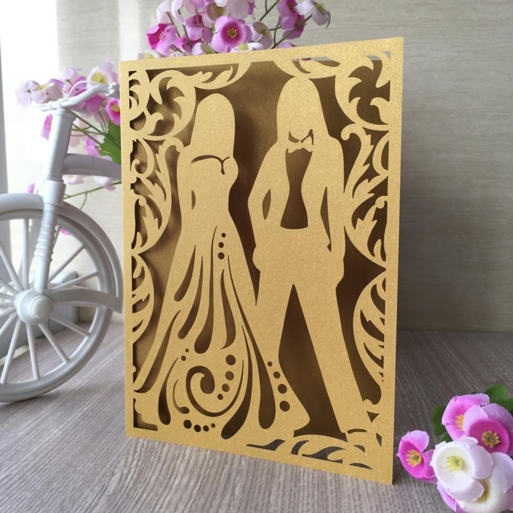 25pcs Vintage Laser Cut Hochzeitseinladungen Elegante Jubiläum Dekorationen Party Supplies Grusskarte