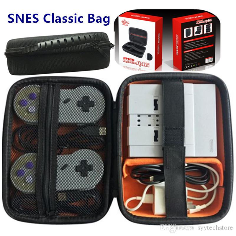 Syytech إيفا الصعب سفر تخزين حقيبة حمل حقيبة القضية ل snes الكلاسيكية مصغرة حمل اللون الأسود