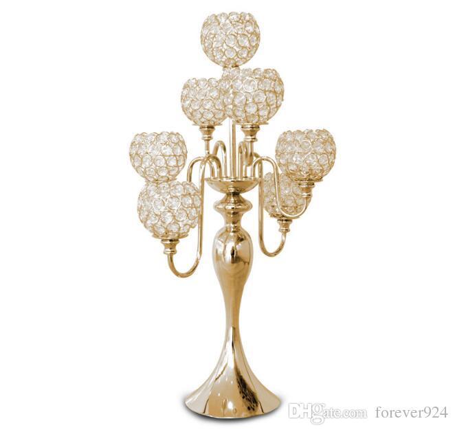 elegant new 7 arms candelabra wedding centrepiece gold candelabra with crystal ball candelabras for wedding table decoration