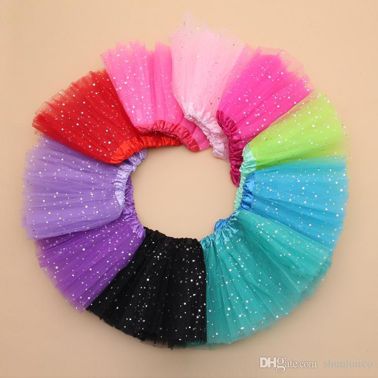 Girls Tutu Skirt Summer Kids Star Glitter Dance Tutu Skirt For Girl Sequin 3 Layers Tulle Toddler Pettiskirt 4-8T
